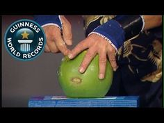 Fastest time to pierce 4 coconuts with 1 FINGER! - Guinness World Record...