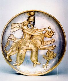 Sassanian Silver Gilt Plate Depicting a King Wrestling a Leopard 5th-6th cent.CE