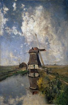 Windmill on a Polder Waterway, known as 'In the Month of July'.  c. 1889  Paul Joseph Constantin Gabriel