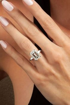 : 21 Emerald Engagement Rings For A Perfect Finger ? Emerald engagement rings are very common. Browse our gallery with the most beautiful emerald engagement rings and get pleasure! Dream Engagement Rings, Classic Engagement Rings, Engagement Ring Cuts, Emerald Cut Diamond Engagement Ring, Morganite Engagement, Diamond Wedding Bands, Wedding Rings, Wedding Bells, Swarovski