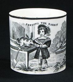 """Feeding the rabbit cup. """"Feeding the rabbit"""" has to be a euphemism for something! Antique Nursery, Vintage Nursery, Ceramic Decor, Ceramic Art, Childrens Cup, Mugs And Jugs, Pottery Gifts, English Pottery, Antique Pottery"""