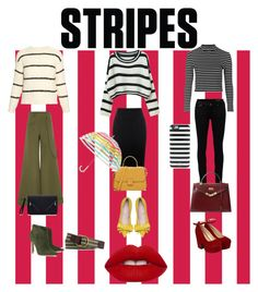 """""""Stripes and fun"""" by neve-silente ❤ liked on Polyvore featuring Topshop, Brunello Cucinelli, WithChic, Yves Saint Laurent, Alexander McQueen, Rosie Assoulin, Hermès, Gianvito Rossi, Pilot and Kate Spade"""