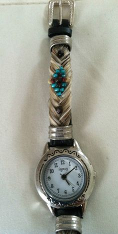 White Horse Hair Watch with Teal Beading | eBay