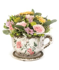 Take a look at this Pink Rose Antiqued Ceramic Tea Cup Planter by Decorative Accents Collection on #zulily today!