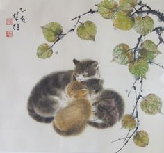 Chinese Painting of three cats Chinese Artwork, Japanese Artwork, Japanese Painting, Chinese Painting, Art And Illustration, Illustrations, Botanical Illustration, Art Japonais, Watercolor Cat