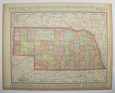Vintage Nebraska Map Antique Map of South Dakota State County Map 1896 Unique Gift Under 20 Gift for Home Office Wedding Prop Travel Map by OldMapsandPrints on Etsy