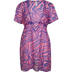 robe de plage, voilé imprimé zèbre bleu marine et fuchsia, manches courtes, décolleté avec détail anneau plastique, lien dos