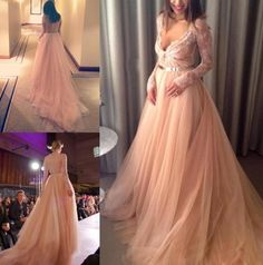 2015 New Elegant Evening Dresses Champagne V-Neck Sheer Long Sleeve Lace Runway Dress