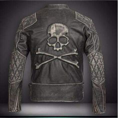 Genuine Leather Vintage Black Skulls Motorcycle Jacket