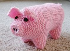 New Soft Handmade Knit Stuffed Pink Baby Pig by TheCraftworksCo, $18.99