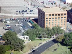 aerial view of Dealy Plaza in Dallas...can you see the X in the middle of the street, that marks the fatal shot that killed JFK