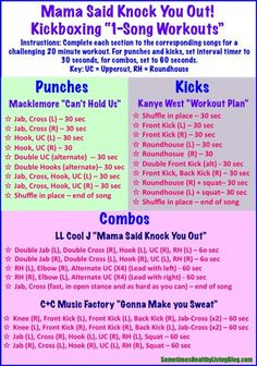 1 Song Kickboxing Workouts: 20 minutes of cardio blasting kickboxing set to intense rap beats from 1990 -2014!
