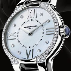 Raymond Weil's Lavish Ladies Watches Watch Necklace, Bracelet Watch, Submariner Watch, Swiss Luxury Watches, Raymond Weil, Pearl Diamond, Watch Sale, Cool Watches, Ladies Watches