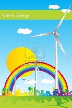 http://www.diywindturbine.us/energy2green-review.html Energy 2 Green program review. Wind power illustration, green energy Stock Photo
