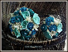 Turquoise navy mint and teal bridal bouquet rustic bouquet Teal Bouquet, Rustic Bouquet, Bridesmaid Bouquet, Wedding Bouquets, Wedding Cakes, Wedding Veils, Wedding Hair, Bridal Hair, Wedding Ceremony