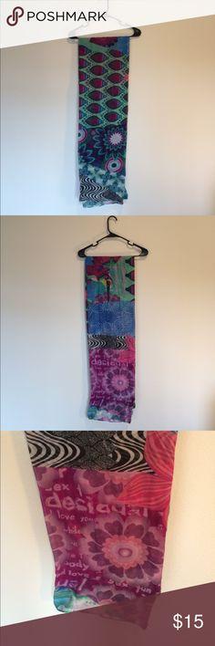 Desigual Purple/Green Scarf Purple/Green Design scarf by Desigual. Lightly worn. Lightly worn. One size. Desigual Accessories Scarves & Wraps