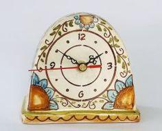 Table clocks Table clock handmade in ceramic and decorated with floral patterned, crackle glaze #madeinitaly #artigianato #ororlogio #watch #tavolo #table #ceramica #cercamic