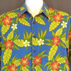 21cdc0328 Joe Kealoha's Reyn Spooner Hawaiian Shirt M Blue Floral Tropical Aloha  #ReynSpooner #Hawaiian Cool