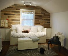 another example of wood planks for knee wall in basement