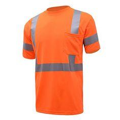 NY Hi-Viz Workwear 9081 Class 3 High Vis Reflective Short Sleeve ANSI Safety Shirt (Medium, Orange)