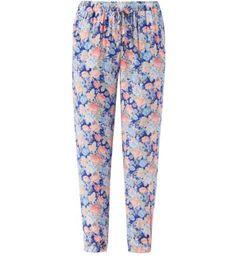 Blue Floral Print Elasticated Waist Slim Leg Joggers