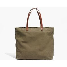 MADEWELL The Canvas Transport Tote ($58) ❤ liked on Polyvore featuring bags, handbags, tote bags, british surplus, brown tote bags, madewell tote bag, monogrammed tote bags, brown purse and canvas tote