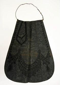 1860's apron, watered silk & wool braid