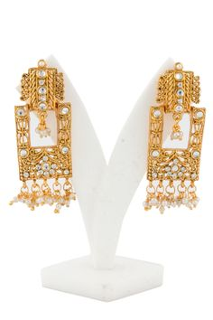 Golden Studded Jhumka Earrings with price $10.79 now available online in USA #Andaazfashion. http://www.andaazfashion.us/golden-studded-jhumka-earrings-80565.html