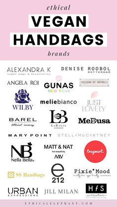 Ive been building this list of vegan bags for some time now and Im so excited to share 20 vegan handbag brands who are proving we dont have to compromise on style or ethics in order to accessorize guilt-free! Vegan Clothing, Ethical Clothing, Ethical Fashion, Diy Clothing, Vegan Purses, Vegan Handbags, Vegan Shoes, Vegan Fashion, Vegan Beauty
