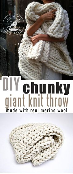 How to make DIY chunky knit blanket (arm knit or finger knit) - Craft-Mart Are you interested in learning how to arm-knit blanket that is so super-chunky and super-cozy that will fill up your home with a really warm hygge fee. Finger Knitting, Arm Knitting, Knitting Needles, Knitting Patterns, Knitting Ideas, Stitch Patterns, Crochet Patterns, Hand Knit Blanket, Chunky Blanket