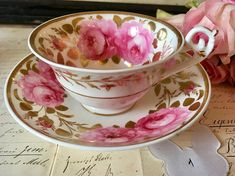 Antique English china Daniel & Spode teacup and saucer - Hand painted red roses, gold leaves and edges - Circa 1825 - Early 19th century fine china tea cup