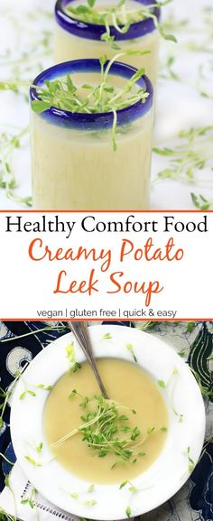 Healthy comfort food! This vegan Potato Leek Soup is so rich and creamy, it's hard to believe how nourishing it is too! The ingredients are simple, but the flavor is divine. Serve it warm in the winter & spring, or eat it chilled in the summer when temps start to rise. via @thespicyrd #veganfood #glutenfreerecipes #soup #meatlessmonday #healthyrecipes