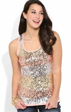 Deb Shops Multicolor #Sequin Striped Tank Top $10.00