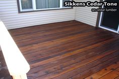 sikkens - Cedar stain on cedar Deck Stain And Sealer, Cedar Stain, Exterior Stain, Cedar Fence, Backyard Makeover, Yard Design, Gaston, House Plans, Porch