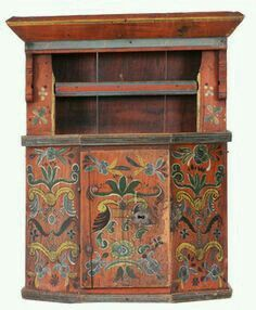 ... Antique Cupboard, Painting Cabinets, Norwegian Rosemaling, Unique  Furniture, Painted Furniture, Furniture Ideas, Belles Choses, Scandinavian  Art