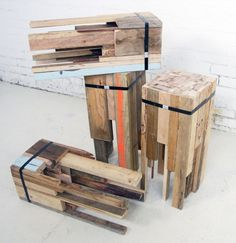 "Offcut Stools by Edwards Moore: ""Edwards Moore designed and constructed a set of bar stools for a popular city venue made entirely from reclaimed materials. They used discarded timber off cuts from a variety of sources to create the structure, bound together using an industrial ratchet. The top was then sanded and finished with linseed oil, putty and wax to create a smooth surface."" (www.contemporist.com)"