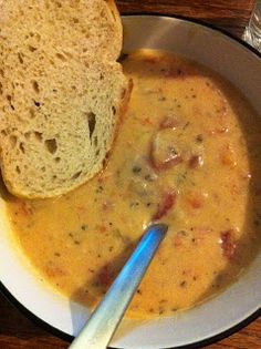 Recipe: Tomato Basil Parmesan Soup - slow cooker or stove top; 1 cup each - onion, carrots, celery, 28oz tomatos, 4cups chicken broth; 1 bay leaf, 1tsp oregano, 1 T basil all in the crock pot; then make a roux with 1/2 stick butter &1T of olive; add soup; add 1/2 parm; add 2 cups milk - try 1 cup light cream and 1 cup 2% milk next time.