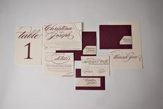 REAL Wedding: Christina and Joseph | Burgundy and Ecru Letterpress Wedding Invitations