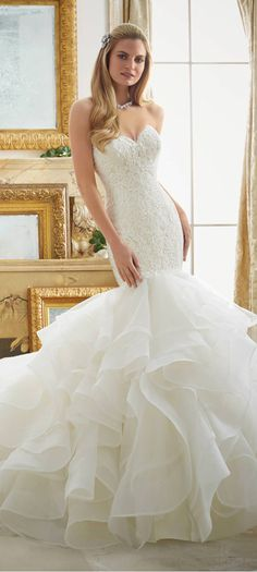 Wonderful Tulle & Organza Sweetheart Neckline Mermaid Wedding Dresses With Lace Appliques