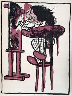 20th century caricature lithographic illustration called 'artist'