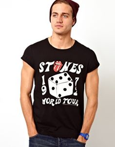 ASOS T-Shirt With Rolling Stones Print And Rolled Sleeves