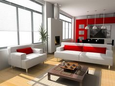 living room decor with white and red design and white sofa also red cushion and wooden floor under coffee table, amazing!