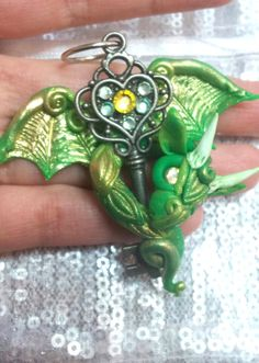 Green Gold Baby Dragon Pendant by MakoslaCreations on Etsy, $35.00
