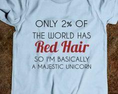red hair majestic unicorn kids tee-shirt