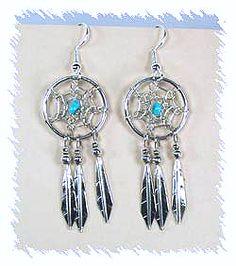 Lorenzo Arviso Navajo Dreamcatcher Earrings Sterling Silver Wire Style American Indian Art, Native American Indians, Dream Catcher Native American, Dream Catcher Earrings, Native American Earrings, Turquoise Earrings, Navajo, Sterling Silver Earrings, Dangles