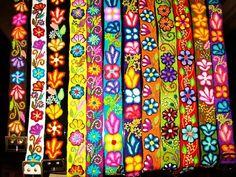 peruvian Wool  embroidered flower belt