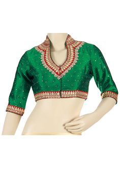 Green blouse featuring with embroidered high neck collar only on kalki