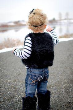 Adorable Set for Photo Shoots! Luna Toddler Vest & Jet Black Faux Fur Tall Boots Because Every Girl Should Have a Little Black Vest!
