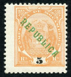 Mozambique Company  1911 Scott 62 5r orange Stamps of 1895- 1907 overprinted locally in green or carmine