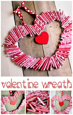 """Paper """"Roll-Up"""" Valentine Wreath Tutorial -- Tatertots and Jello posted by Jen My name is Aniko and I am a blogger at Place Of My Taste.this is what you will need to make this lovely looking wreath: -scrapbook paper { pink, red combination } -hot glue gun or glue { started with glue but was faster and better with the gun:-)} -cardboard -scissors -ribbon to hang the wreath"""